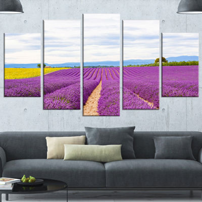 Designart Sunflower and Lavender Fields LandscapeWrapped Wall Art - 5 Panels