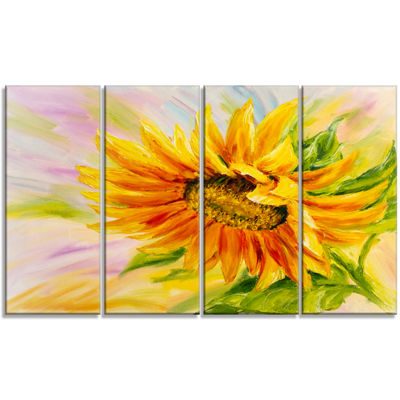 Designart Sunflower Oil Painting Floral Art CanvasPrint - 4Panels