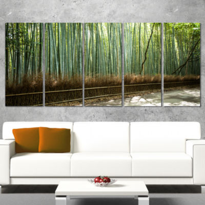 Designart Beautiful View of Bamboo Forest ForestWrapped Canvas Wall Art Print - 5 Panels