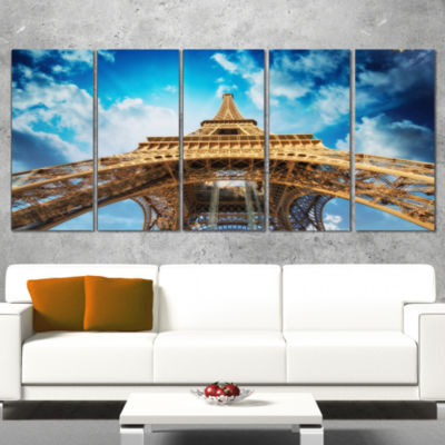 Designart Beautiful View of Paris Paris Eiffel Towerin ParisCityscape Wrapped Canvas Print - 5 Panels