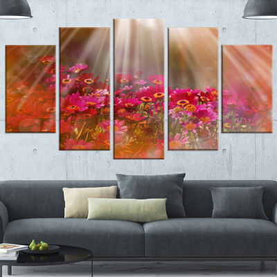 Designart Sunlight Over Garden with Flowers LargeFloral Canvas Artwork - 5 Panels