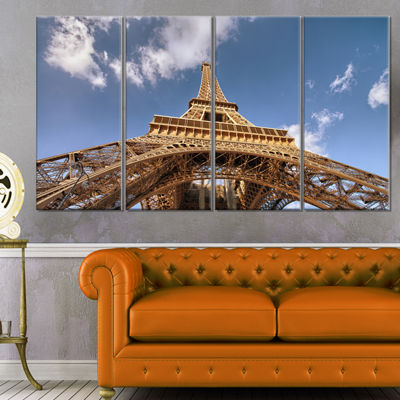 Designart Beautiful View of Paris Paris Eiffel Towerunder Calm Sky Cityscape Canvas Print - 4 Panels