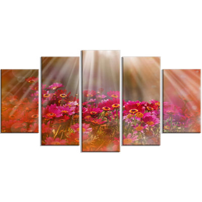 Designart Sunlight Over Small Red Flowers Large Floral Wrapped Artwork - 5 Panels