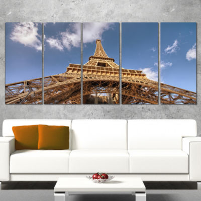 Designart Beautiful View of Paris Paris Eiffel Towerunder Calm Sky Cityscape Canvas Print - 5 Panels