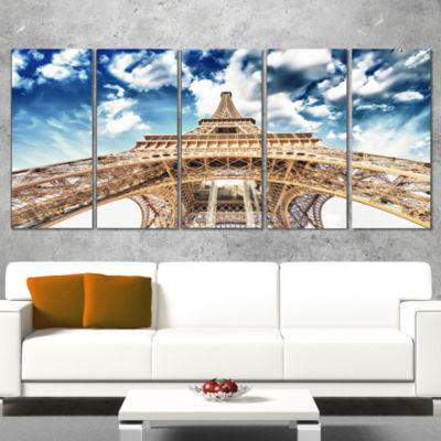 Designart Beautiful View of Paris Paris Eiffel Towerunder Clouds Cityscape Wrapped Canvas Print - 5Panels