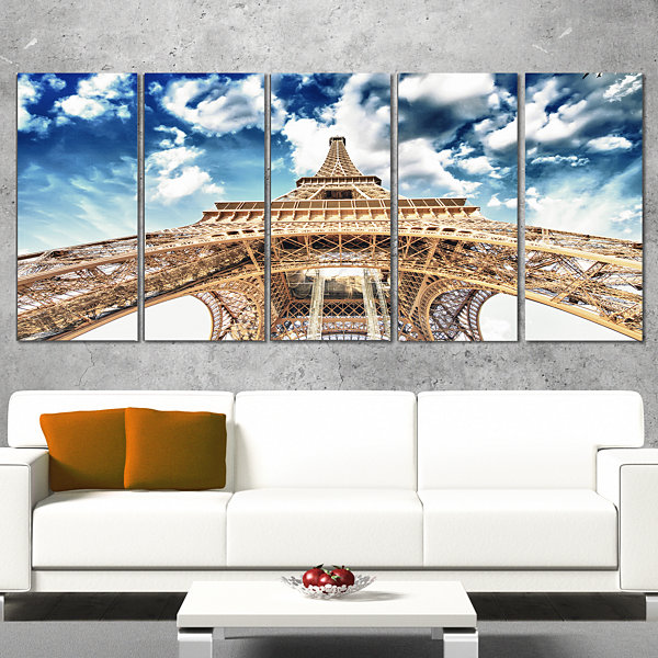 Designart Beautiful View of Paris Paris Eiffel Towerunder Clouds Cityscape Canvas Print - 5 Panels