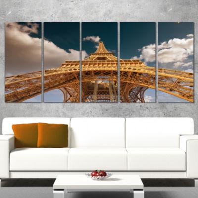 Designart Beautiful View of Paris Paris Eiffel Towerunder Dark Sky Cityscape Wrapped Canvas Print -5Panels