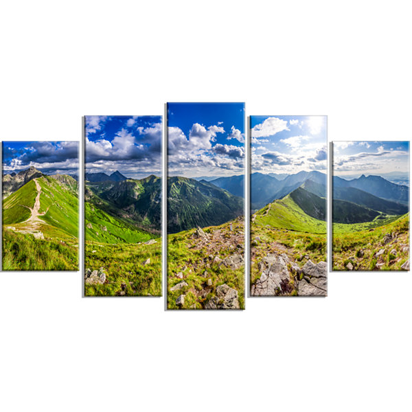 Sunny Day Tatra Mountains Panorama Landscape PrintWrapped Wall Artwork - 5 Panels