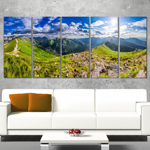 Designart Sunny Day Tatra Mountains Panorama Landscape PrintWall Artwork - 5 Panels