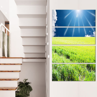 Designart Sunny Field with Green Grassland Oversized Landscape Canvas Art - 4 Panels