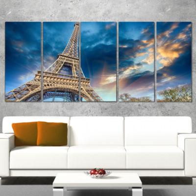 Designart Beautiful View of Paris Paris Eiffel Towerunder Fiery Sky Cityscape Canvas Print - 5 Panels