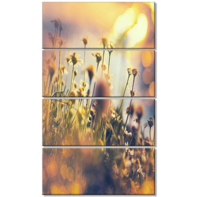 Sunny Meadow Flowers and Grass Large Flower CanvasArt Print - 4 Panels
