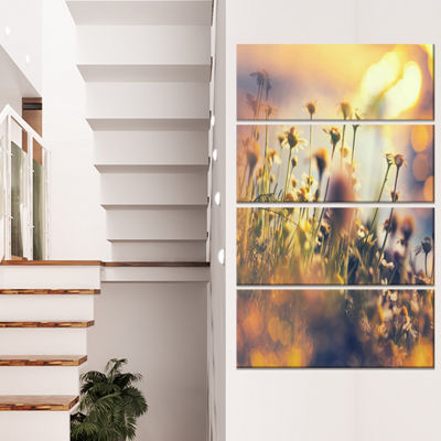 Designart Sunny Meadow Flowers and Grass Large Flower CanvasArt Print - 4 Panels