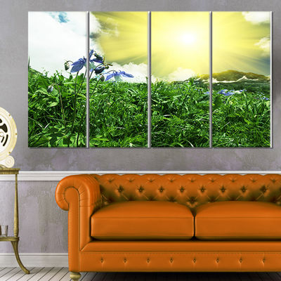 Designart Sunny Meadow with Green Grass Extra Large Landscape Canvas Art - 4 Panels