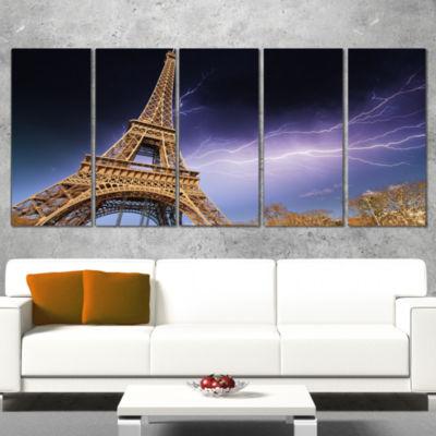 Designart Beautiful View of Paris Paris Eiffel Towerunder Purple Sky Cityscape Wrapped Canvas Print-5 Panels