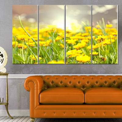 Designart Sunny Meadow with Yellow Flowers FloralCanvas ArtPrint - 4 Panels