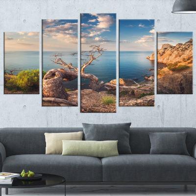 Designart Sunny Morning with Old Tree Seashore Photo CanvasArt Print - 4 Panels
