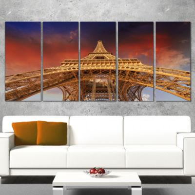 Designart Beautiful View of Paris Paris Eiffel Towerunder Red Sky Cityscape Wrapped Canvas Print -5Panels