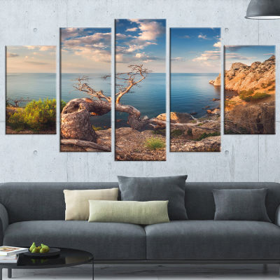 Sunny Morning with Old Tree Seashore Photo CanvasArt Print - 5 Panels
