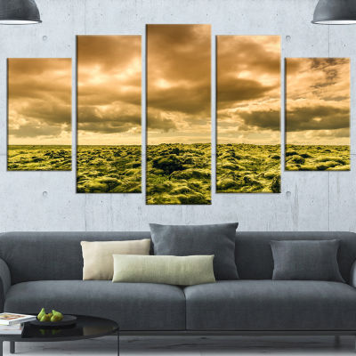 Designart Beautiful View of Sky and Moss Large Landscape Wrapped Canvas Art - 5 Panels