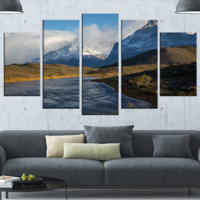 Designart Beautiful View of Torres Del Paine LargeBeach Wrapped Canvas Wall Art - 5 Panels