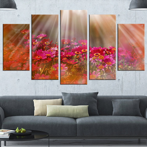 Sunrays Over Little Red Flowers Large Floral Canvas Artwork - 4 Panels
