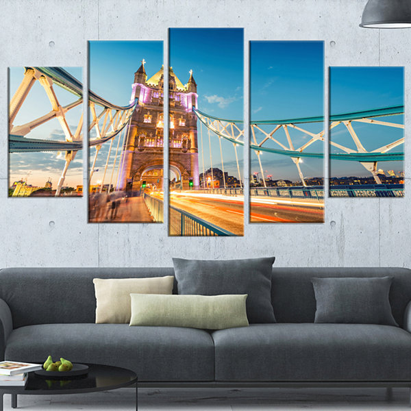 Designart Beautiful View of Tower Bridge London Cityscape Wrapped Canvas Print - 5 Panels