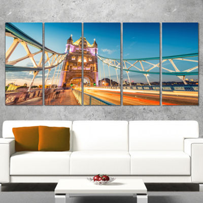 Designart Beautiful View of Tower Bridge London Cityscape Canvas Print - 5 Panels
