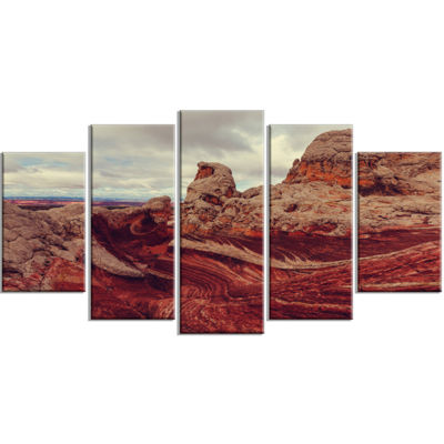 Designart Beautiful View of Vermillion Cliffs Oversized Landscape Wrapped Canvas Art - 5 Panels