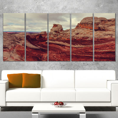 Designart Beautiful View of Vermillion Cliffs Oversized Landscape Canvas Art - 5 Panels