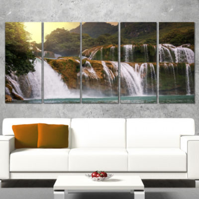 Designart Beautiful Waterfall in Vietnam LandscapeCanvas Art Print - 4 Panels