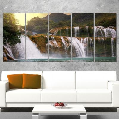 Designart Beautiful Waterfall in Vietnam LandscapeCanvas Art Print - 5 Panels