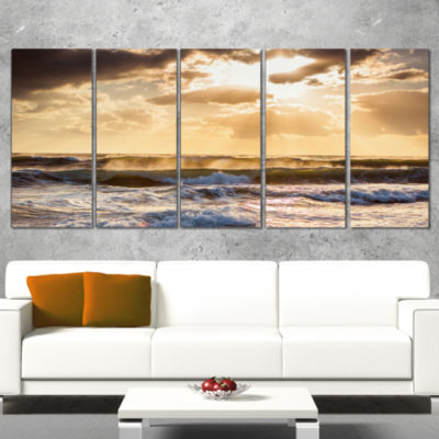Sunrise and Roaring Blue Sea Waves Beach Photo Canvas Print - 5 Panels
