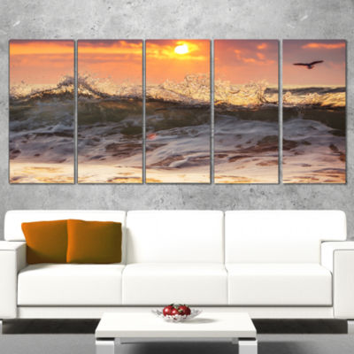 Designart Sunrise and Roaring Ocean Waves SeascapeCanvas Art Print - 4 Panels