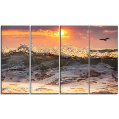 Sunrise and Roaring Ocean Waves Seascape Canvas Art Print - 4 Panels