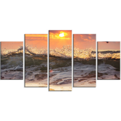 Designart Sunrise and Roaring Ocean Waves SeascapeWrapped Art Print - 5 Panels