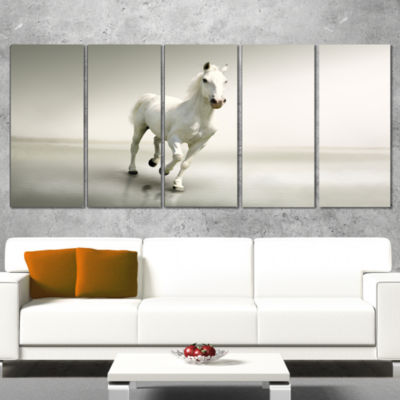 Designart Beautiful White Horse Running Animal Canvas Art Print - 5 Panels