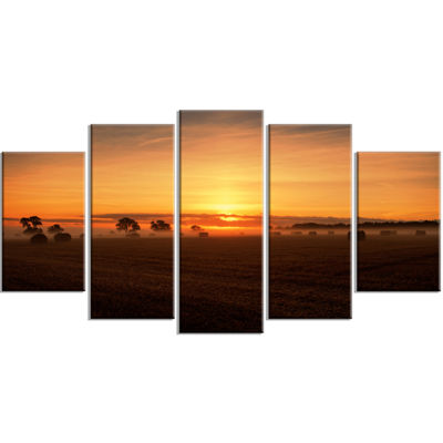 Designart Sunrise at Farmland Bales Landscape Artwork Wrapped - 5 Panels