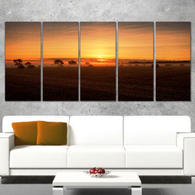 Designart Sunrise at Farmland Bales Landscape Artwork Canvas- 5 Panels