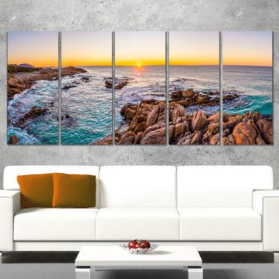 Designart Sunrise at Freycinet Np Beach LandscapeWrapped Art Print - 5 Panels
