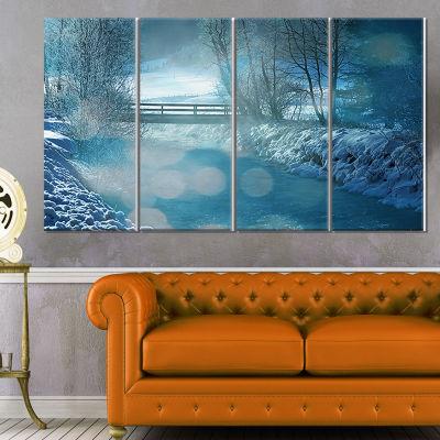 Designart Beautiful Winter River View Oversized Landscape Canvas Art - 4 Panels