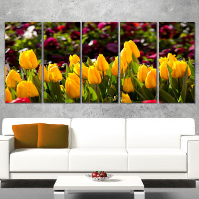 Designart Beautiful Yellow Tulips Garden Large Flower Canvas Art Print - 4 Panels