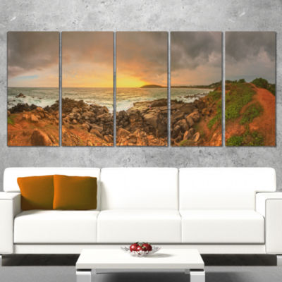 Designart Sunrise at Romantic Beach at Sri Lanka Landscape Artwork Canvas - 5 Panels