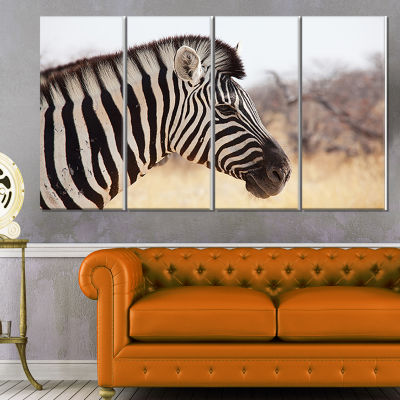 Designart Beautiful Zebra in Forest Abstract Canvas Art Print - 4 Panels