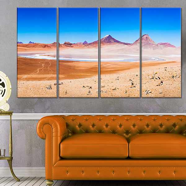 Designart Beauty Lake and Volcano On Altiplano Modern Seascape Canvas Artwork - 4 Panels