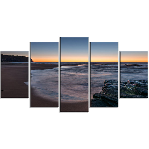 Designart Sunrise at Sydney Over Sea Seascape Wrapped Art Print - 5 Panels