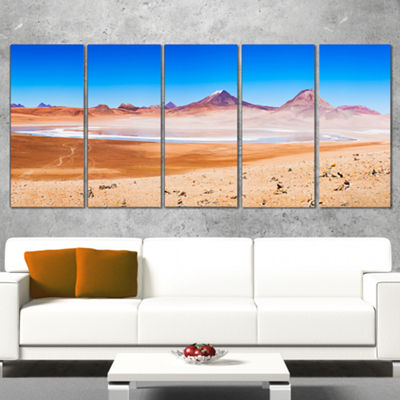Designart Beauty Lake and Volcano On Altiplano Modern Seascape Canvas Artwork - 5 Panels