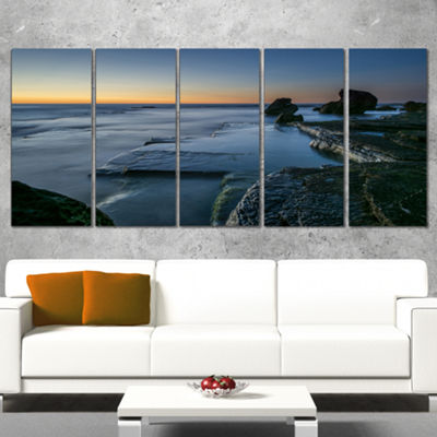 Designart Sunrise at Sydney Seashore Seascape Canvas Art Print - 4 Panels