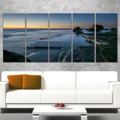 Designart Sunrise at Sydney Seashore Seascape Wrapped Art Print - 5 Panels