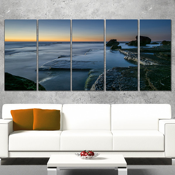 Designart Sunrise at Sydney Seashore Seascape Canvas Art Print - 5 Panels